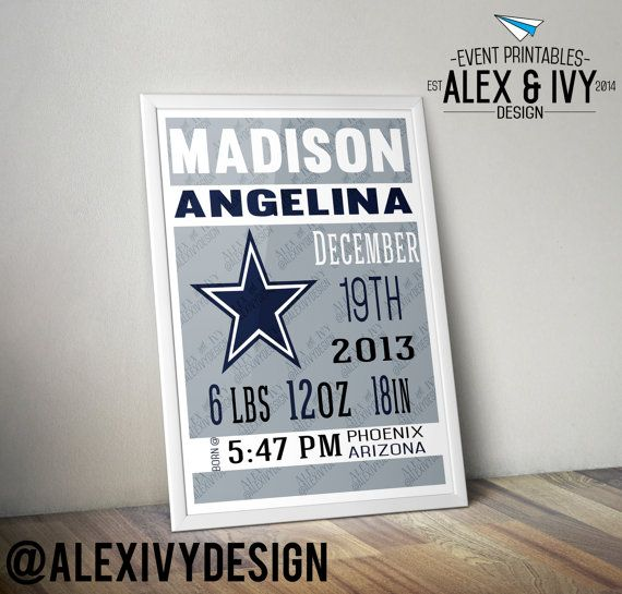 NFL Dallas Cowboys Kids Room Nursery Announcement by AlexIvyDesign