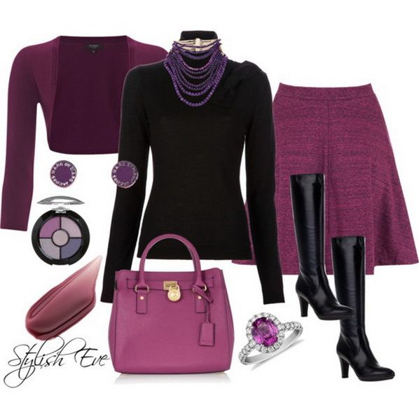 Purple-think it will ever be the new power color in the office?? probably not but this is still office appropriate.. and for evening trade the turtle neck for an embellished Tank keep the jewelry put on some multi color stilletos and go!!!
