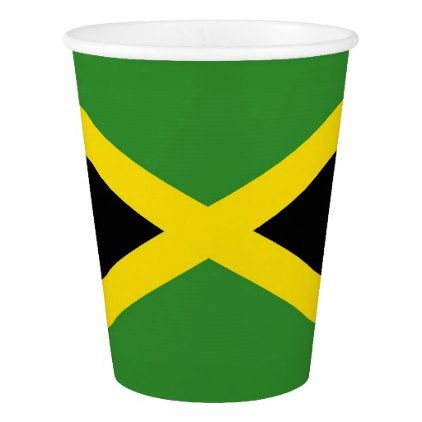Patriotic paper cup with flag of Jamaica - home gifts ideas decor special unique custom individual customized individualized