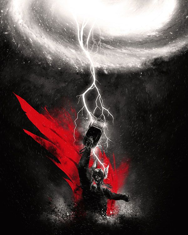 Digital artwork showing Thor - God of Thunder. The image uses tonal colours to its advantage as the red colour for the cape is so striking and uses the contrasting tones to show of his power.