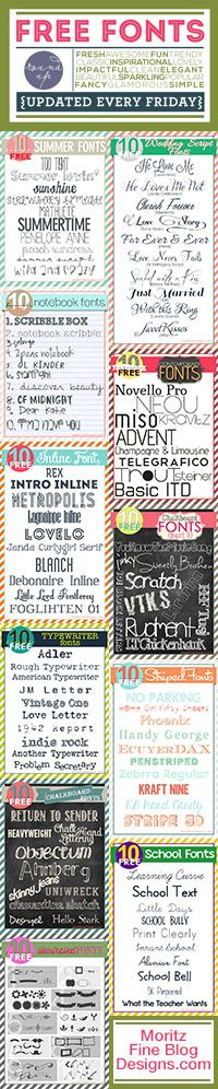 new #free #fonts, updated EVERY Friday | wedding, school, inline, webdings, typewriter, chalkboard, striped, illustrated fonts | free font friday | www.moritzfineblogdesigns.com #freefonts