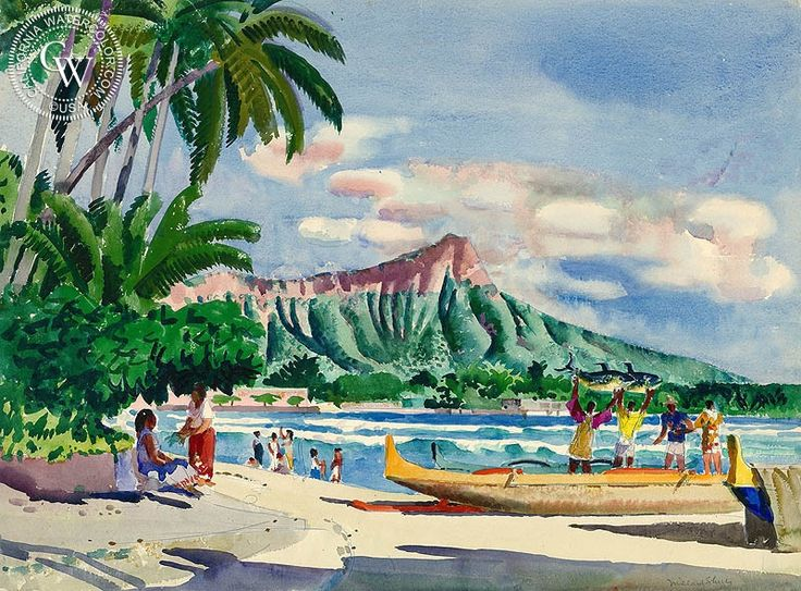 Millard Sheets - Diamond Head, Hawaii, c. 1950's, California art, original California watercolor art for sale, fine art print for sale, giclee watercolor print - CaliforniaWatercolor.com