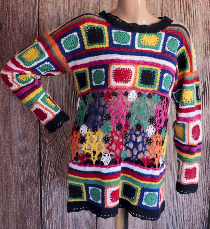Paris Sports Club Womens Top Size Medium Multi-Color Hand Knit Crochet Vintage  #ParisSportsClub #CrochetTop