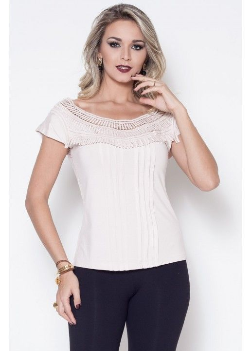 123e9b601 BLUSA DE VISCOLYCRA COM RENDA | blusas | Vestido de jacquard, Blusas ...