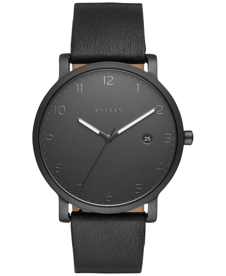 Dramatic lines meet dark tones in this exceptional Hagen watch designed by Skagen. | Black leather strap | Round black stainless steel case, 40mm | Black dial with numerals, three hands, date window