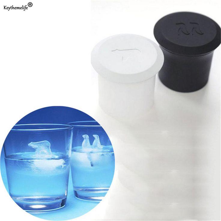 Keythemelife 2pcs/set Ice Cream Tool Silicone Mold Polar Bear Penguin Silicone Jelly Ice Cube Mold Kitchen Bar Tools B5