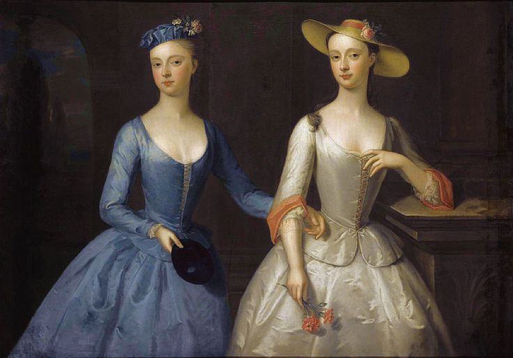Lady Sophia and Lady Charlotte Fermor at a masquerade of the Duchess of Norfolk, ca 1741, attributed to Enoch Seeman (1694-1744)