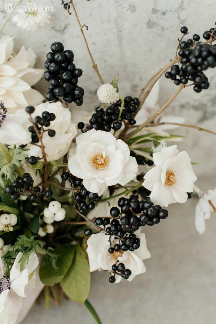 Black and White Wedding Bouquet, Berry Wedding Bouquet, Organic Wedding Bouquet | ElegantWedding.ca