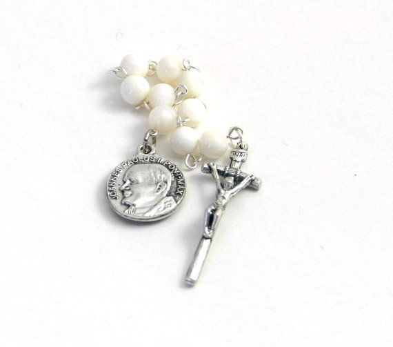 Saint Pope John Paul II Canonization Rosary by plainsongprayers, $12.00