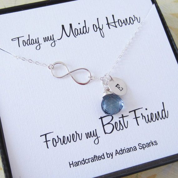 Maid Of Honor Infinity Silver Necklace Birthstone Gift Personalized With