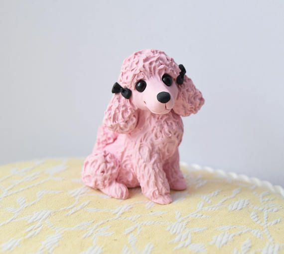 Pink Poodle Sculpture, Poodle Lover, Poodle art Sculpture by Raquel at theWRC hand sculpted polymer clay Collectible DOG lover gift This is a signed, one-of-a-kind fully hand-sculpted creation. I have been meaning to make some pink poodles for a while ;) So here is a cutie for all the Pink