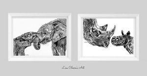Mother-and-Baby-Elephant-and-Rhino-nursery-prints-mummy-and-baby-animal-art