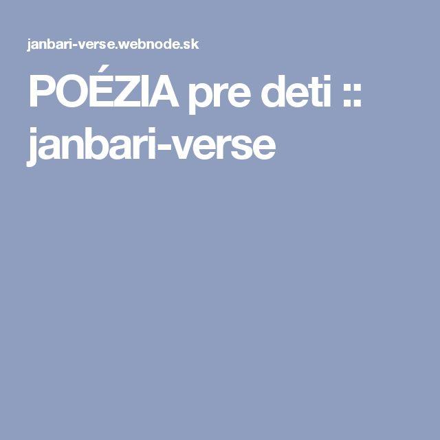 POÉZIA pre deti :: janbari-verse