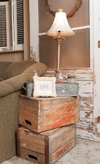crate end table. see @Loni McKenzie McKenzie McKenzie McKenzie McKenzie Banes I could totally use all your crates ;)