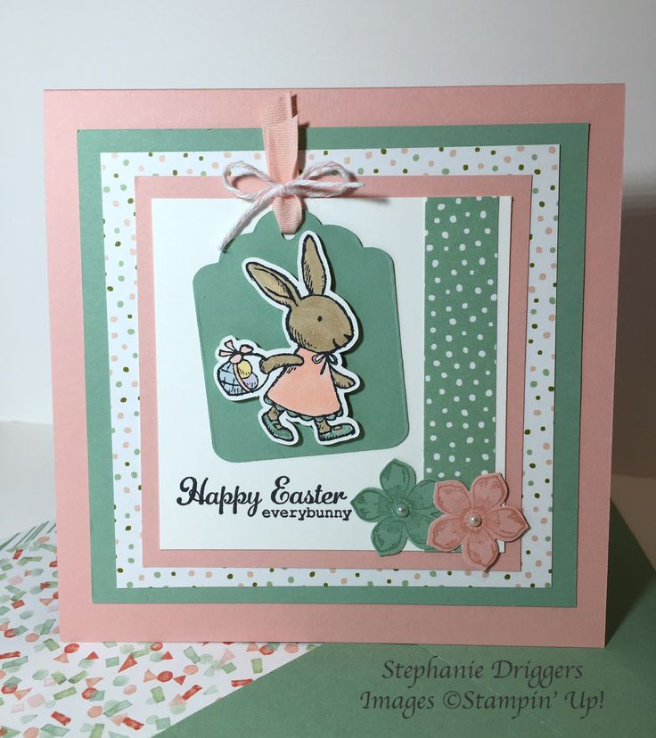 Stampin Up Everybunny stamp set. Birthday Bouquet DSP.  Blushing Bride, Mint Macaron and Whisper White Card stock.