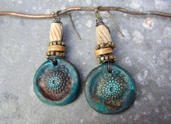 Be Here Now artisan earrings boho rustic grungy by beatnheart