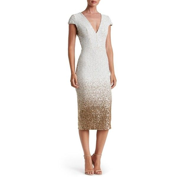 Women's Dress The Population Cece Sequin Midi Dress (350 CAD) ❤ liked on Polyvore featuring dresses, silver cocktail dress, silver bodycon dress, silver dress, white cocktail dresses and white body con dress