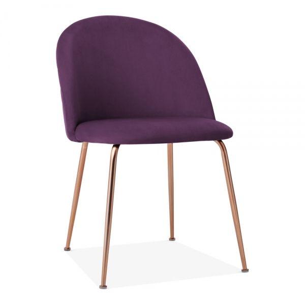 Heather Dining Chair Velvet Plum Purple Leg Colour Copper Leg