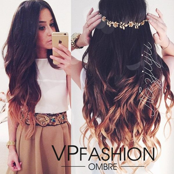 Wavy Two Tone Ombre Clip on Hair Extensions usw150 - Vpfashion