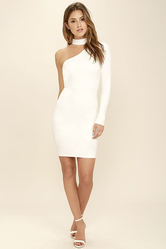 Cocktail hour just wouldn't be the same without the All I Half White One Shoulder Dress! Sleek and stretchy medium-weight knit starts a mock neck, and carries into a one shoulder bodice with darting. Bodycon skirt. Hidden back zipper.