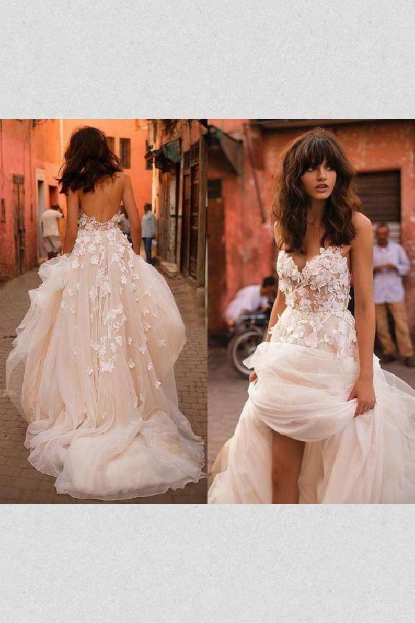 Custom Made Cute Backless Wedding Dress, Wedding Dress For Cheap, Wedding Dress A-Line, Long Wedding Dress