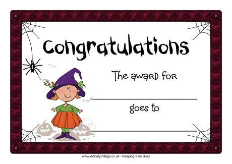 halloween certificate congratulations blank