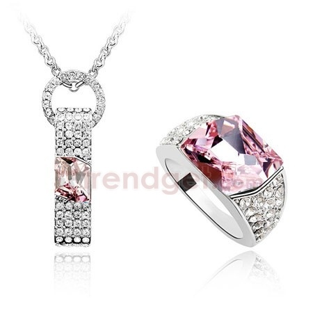 Delightful Austria Crystal White Gold Plated Fashion Jewelry Sets
