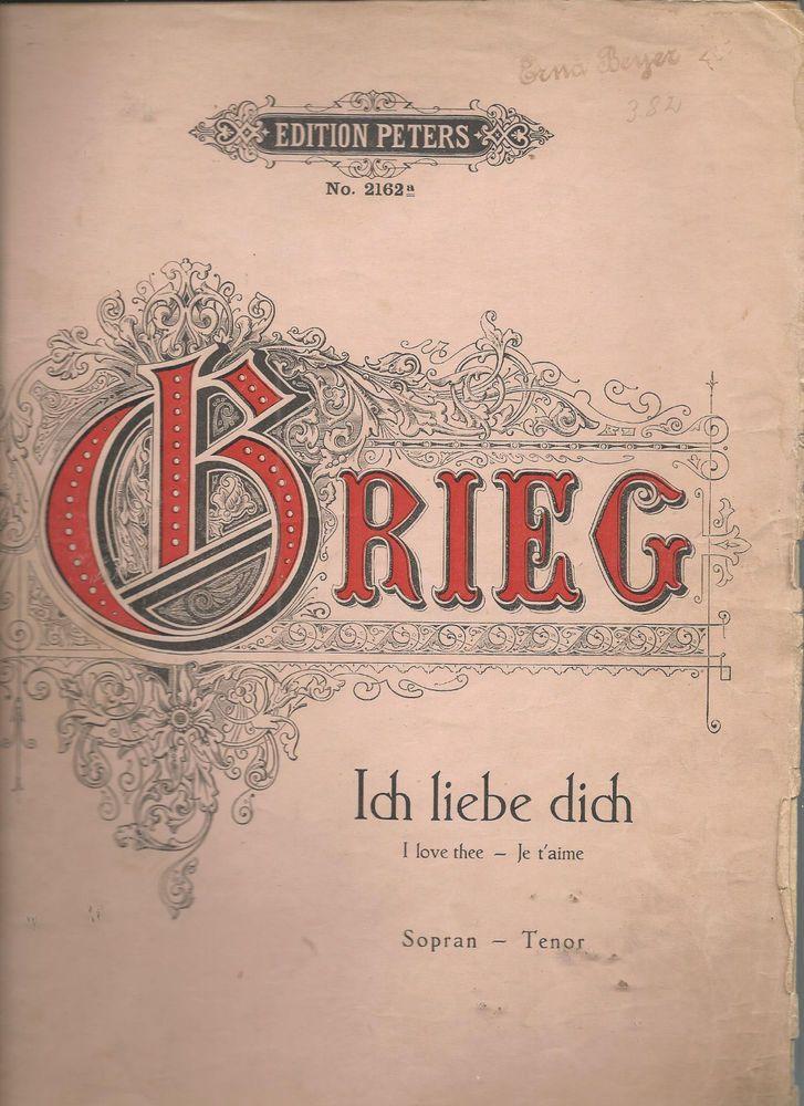 Ich Liebe Dich Edvard Grieg German English French Lyrics Sheet Music Vintage