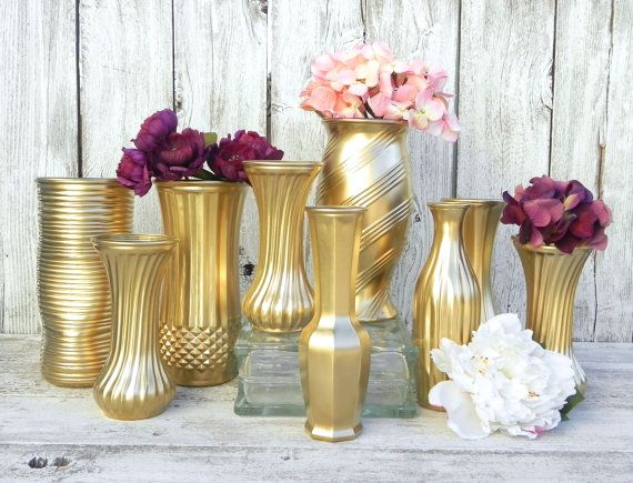 Metallic Gold Upcycled Vases for Weddings, Parties, Events ...