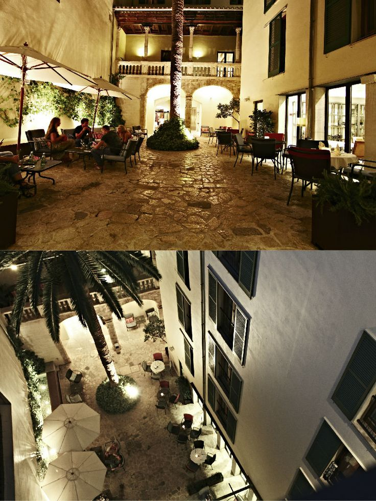 Hotel Tres | Boutiquehotel | Spain | http://lifestylehotels.net/en/hotel-tres | outside, inner courtyard, evening, nightlife