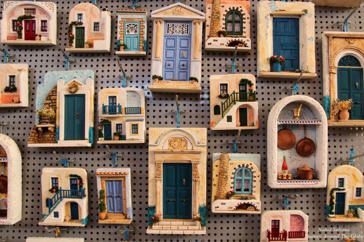 Beautiful Santorini doors in a souvenir shop in Fira