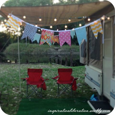 pop up camper re-do -- pinning for the awning, lights and bunting cuteness.