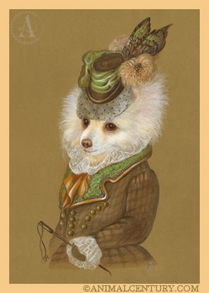 Pomeranian the Equestrienne | Pomeranian Painting at Animal Century