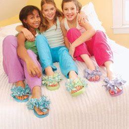 Fluffy flip-flops - good for pajama/spa party (would be fun for big girls too!).