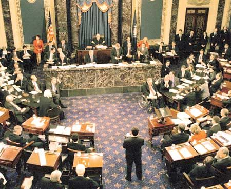 The Impeachment Trial of President William Jefferson ClintonThe Senate meets in January 1999 to consider the Articles of Impeachment  against  President William Clinton.