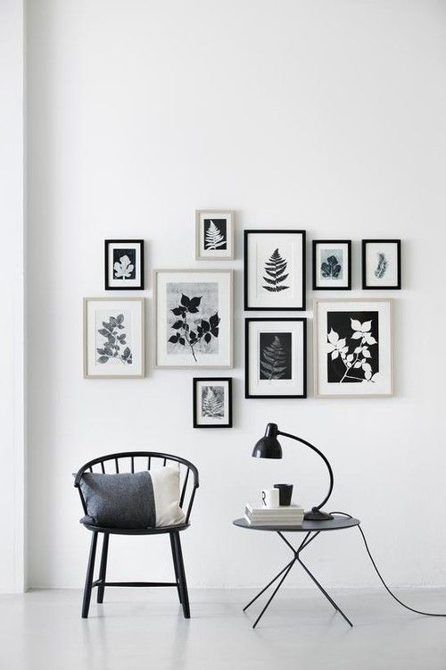 A beautiful way to decorated your wall. Black and white gallery wall with monochrome prints.