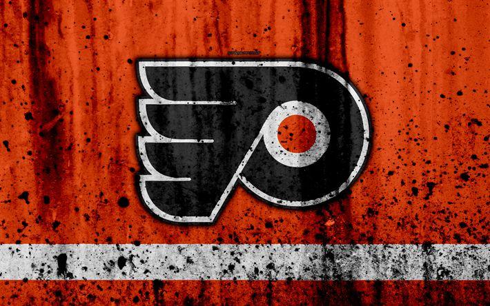 Download wallpapers 4k, Philadelphia Flyers, grunge, NHL, hockey, art, Eastern Conference, USA, logo, stone texture, Metropolitan Division