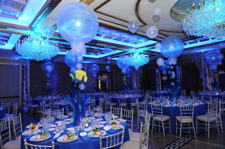 Underwater themed party bar bat mitzvah pinterest for Water decoration ideas