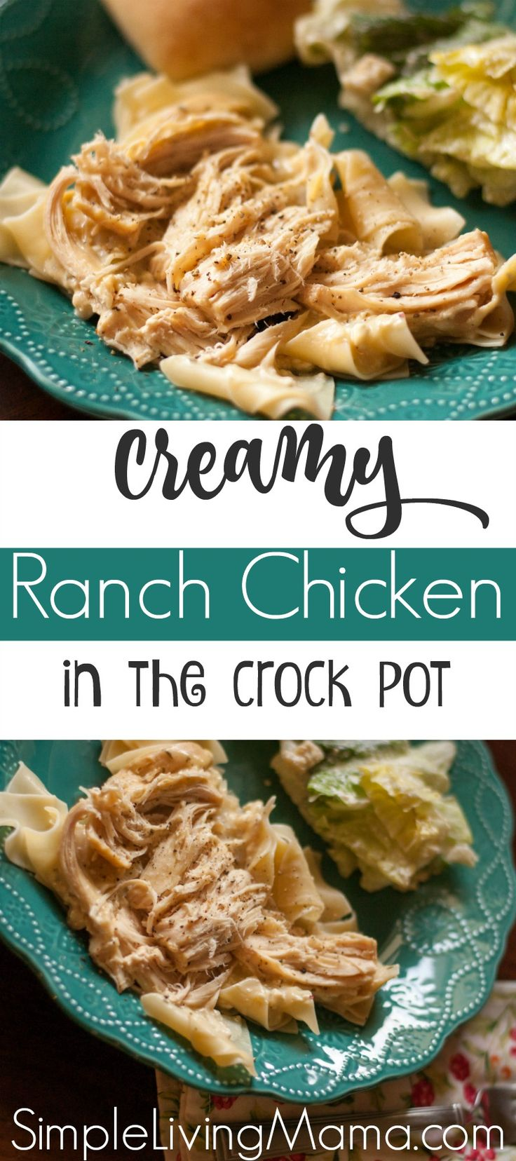 This crockpot chicken is made with a ranch packet and cream cheese to create the perfect weeknight meal that your family will ask for over and over again!