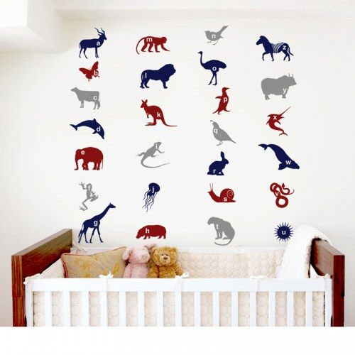 Animal Alphabets - Wall Stickers - Blue