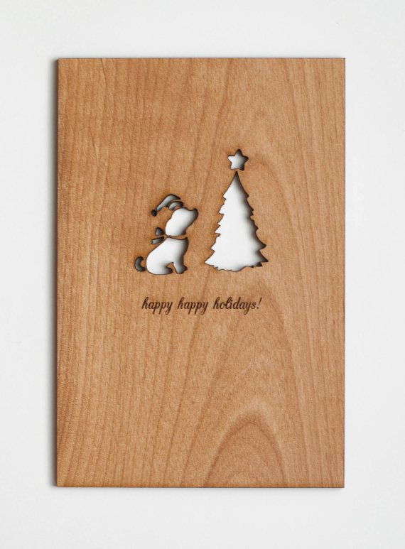 Dog Holidays Card Real Wood by Cardtorial on Etsy,
