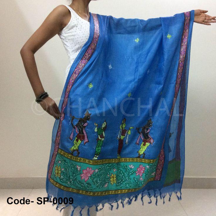 Blue color Tassar-Tassar Dupatta with Pattachitra painting from Odisha depicting Krishna Leela Size: L*W (2.5 mtr *1 mtr)