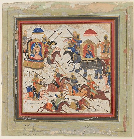 """""""Gav and Talhand in Battle"""" ca. 1430–40In this scene, the Indian princes Gav and Talhand battle over the kingdom of Hind. According to the Shahnama, the game of chess was invented to represent this battle, in which the brothers agreed to fight on a battlefield bordered by a deep trench from which neither could flee. The board represents the confined space of the field; the king dies when his way is blocked and all of his men have been defeated."""