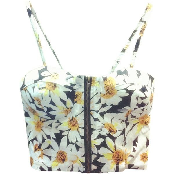 Yellow Ladies Daisy Printed Spaghetti Straps Camisole Top ($13) ❤ liked on Polyvore featuring tops, crop tops, bustier, shirts, yellow, yellow shirt, bustier crop top, white camisole, yellow top and white camisole top