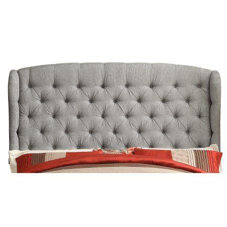 Alton Furniture Cicilia Upholstered Headboard, Queen Grey, Gray