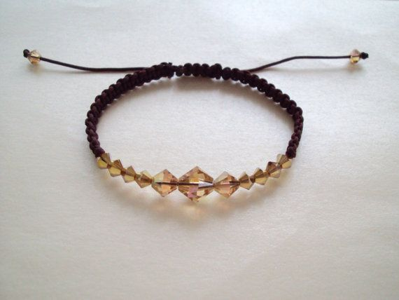 Golden Swarovski crystal macramé bracelet in dark chocolate brown