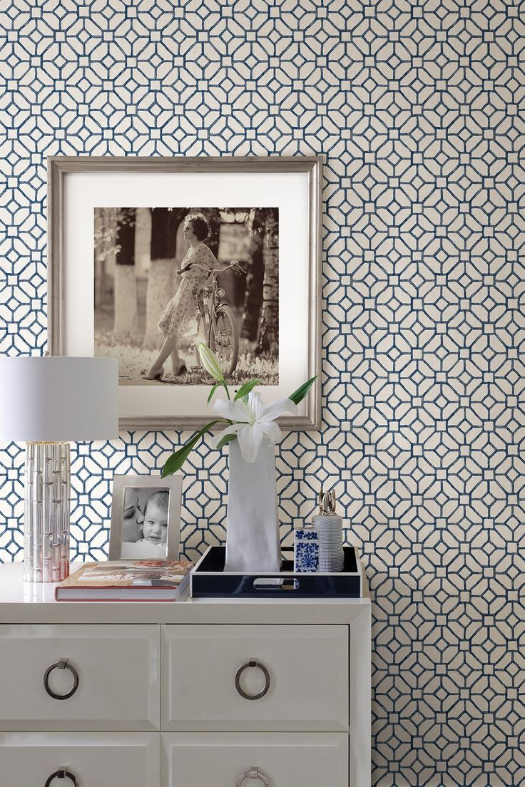 Modern interior wallpaper swatch - Gigi Navy Geometric Brewster Ultra Removable Wallpaper By Brewster Home Fashions On Hautelook