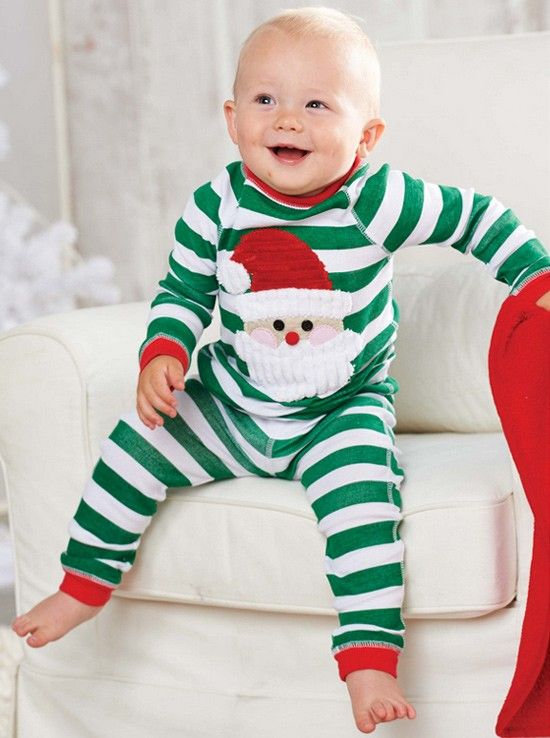 Baby,Pajamas,Cute Green Stripe Two-pieces Baby Pajamas With Santa Claus Print