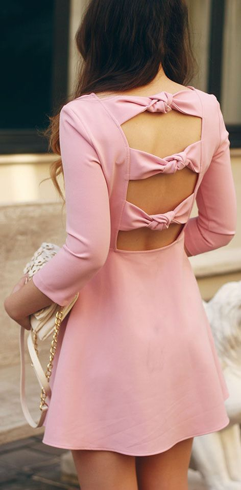 A perfect  Blush Pink Three Bowknots Open Back Dress:: Pretty in Pink:: Bow Dress:: Spring Fashion