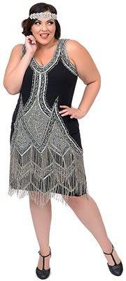 Unique Vintage Plus Size Black & Silver Embroidered Somerset Flapper Dress